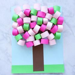 春天的色彩!用卡纸制作立体大树的教程