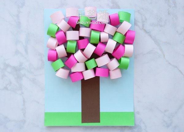 春天的色彩!用卡纸制作立体大树的教程 -  www.shouyihuo.com
