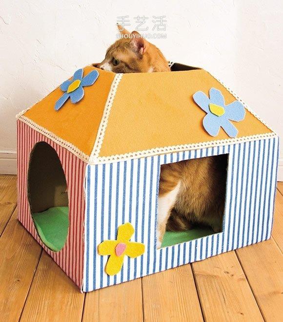 紙板箱廢物利用 簡單製作成貓咪的溫馨小屋!
