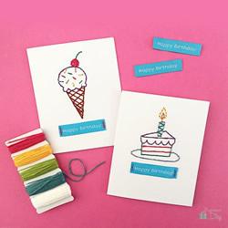 卡纸上刺绣!手工制作小清新生日卡片的教程