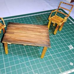 迷你才可爱!用雪糕棍和火柴棍制作桌椅视频