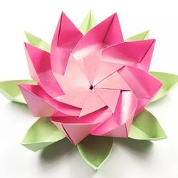 折纸八瓣莲花的视频教程 包括花瓣和叶子折法