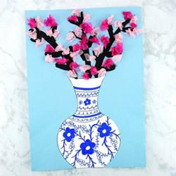 色彩缤纷樱花和青花瓷!超美纸贴画简单制作
