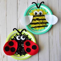 自制春天小昆虫!用纸盘手工制作蜜蜂和瓢虫