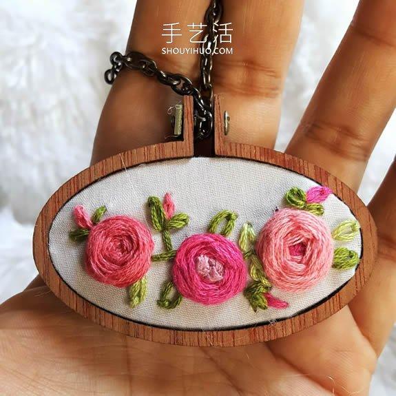 迷你玫瑰花刺绣视频 制作超美的项链吊坠! -  www.shouyihuo.com