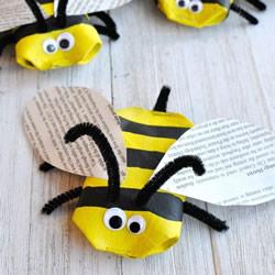 简单又有趣的春天手工 用卫生纸筒做小蜜蜂!
