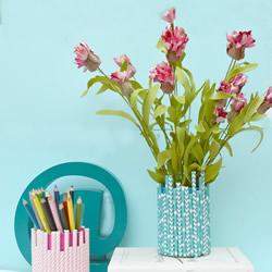 纸吸管和铁罐废物利用 手工制作治愈系花瓶