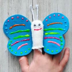 一个手套做玩具!春天蝴蝶手偶手工制作教程
