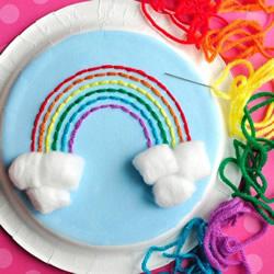 纸盘上绕线 手工制作美丽的春天彩虹!