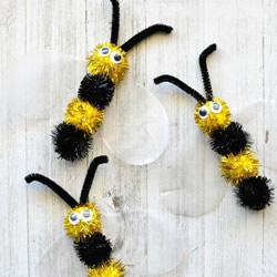 几个毛绒球粘一下 手工制作可爱小蜜蜂!