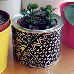 不需花费一分钱!手绘铁罐改造花盆的方法