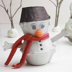 冬天手工小制作 用鸡蛋托做可爱雪人的方法