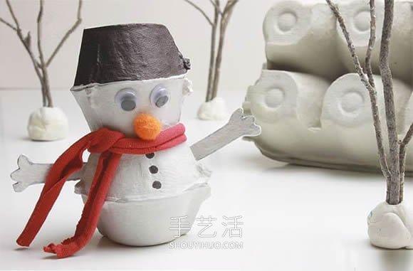 冬天手工小制作 用鸡蛋托做可爱雪人的方法 -  www.shouyihuo.com