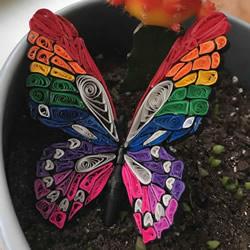 色彩斑斓的小精灵!衍纸蝴蝶手工制作教程