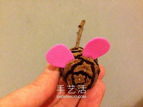 幼儿园松果手工制作 变身可爱小老鼠! -  www.shouyihuo.com