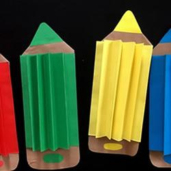 用纸做可爱的彩色铅笔 很棒的教师节礼物!
