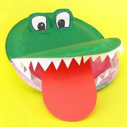 蛋糕纸盘再利用!简单手工制作鳄鱼的做法