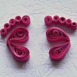 给新妈妈的礼物!衍纸宝宝脚印手工制作教程