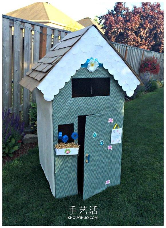 大纸箱再利用!手工制作纸板屋的做法教程 -  www.shouyihuo.com