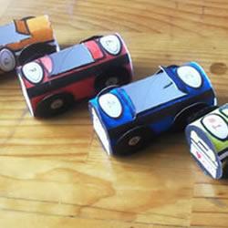 幼儿园卷纸筒小手工 制作可爱的小汽车玩具