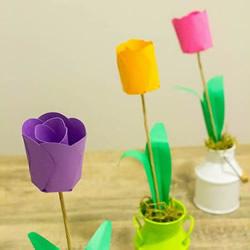 幼儿园教师节礼物!卡纸手工制作郁金香花