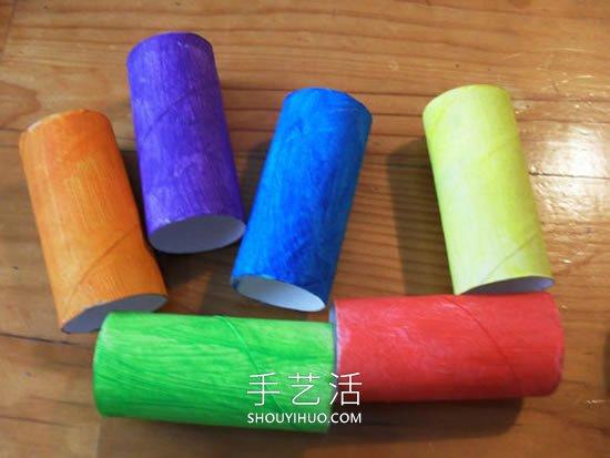 幼儿园卷纸筒小手工 制作可爱的小汽车玩具 -  www.shouyihuo.com