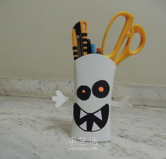 洗发水瓶废物利用 手工制作万圣节怪物笔筒 -  www.shouyihuo.com