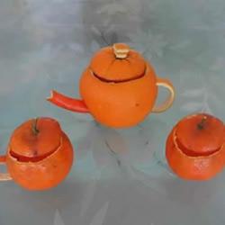 橘子皮废物利用 手工DIY迷你茶具的方法教程
