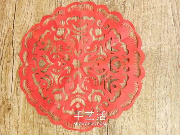 中国传统新年团花的剪纸方法步骤图解 -  www.shouyihuo.com