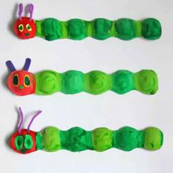 幼儿园鸡蛋托手工制作毛毛虫的做法教程