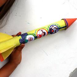 保�r膜筒手工制作六一�和���火箭玩具