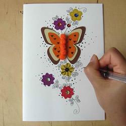 自制蝴蝶和花贺卡的方法图解教程