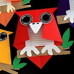 儿童手工制作万圣节猫头鹰卡片的做法图解