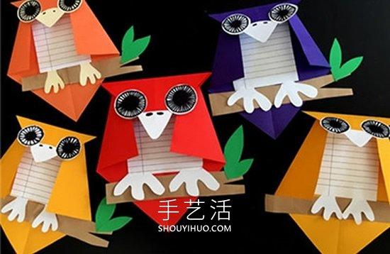 儿童手工制作万圣节猫头鹰卡片的做法图解 -  www.shouyihuo.com