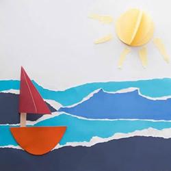 美丽的夏日海滩!幼儿园漂亮撕纸画制作教程