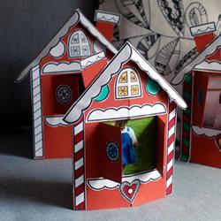 简单自制圣诞风格小屋相框的方法教程