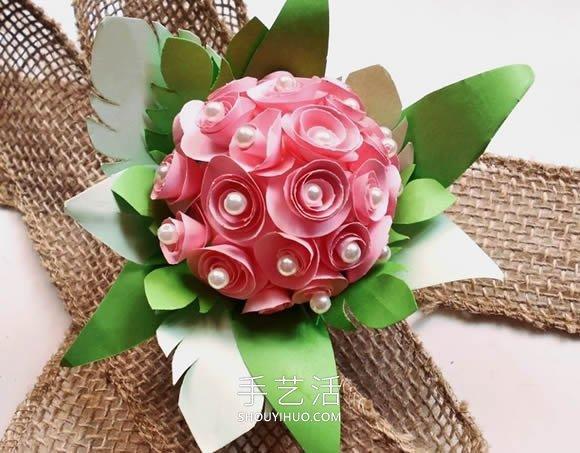简单自制纸玫瑰花球的方法图解教程 -  www.shouyihuo.com