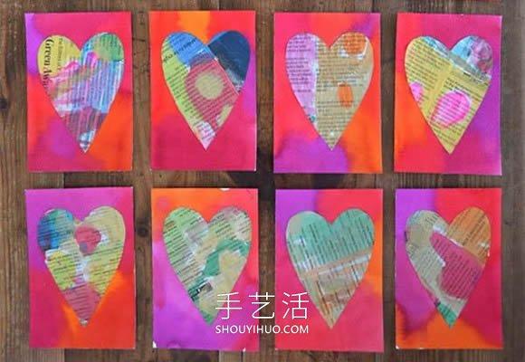 旧报纸再利用 幼儿园自制教师节爱心卡片教程 -  www.shouyihuo.com