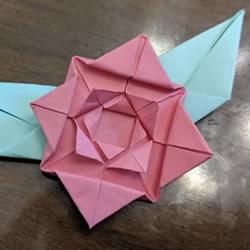 手工折纸扁平玫瑰花和叶子的折法图解