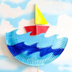 幼儿园手工制作纸盘帆船玩具的做法教程