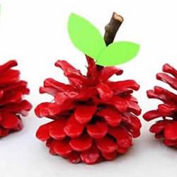幼儿简单手工制作松果红苹果的做法教程