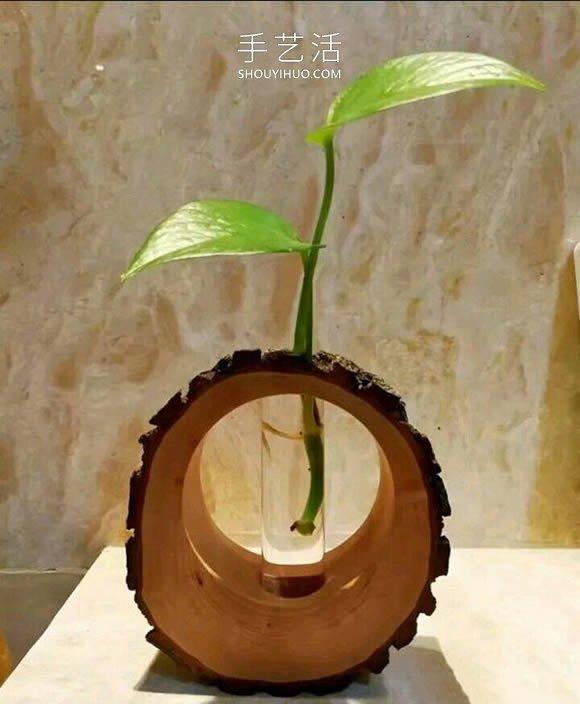 木桩手工制作创意花瓶的做法教程