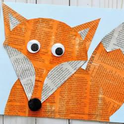 幼儿园用旧报纸制作狐狸粘贴好的做法教程