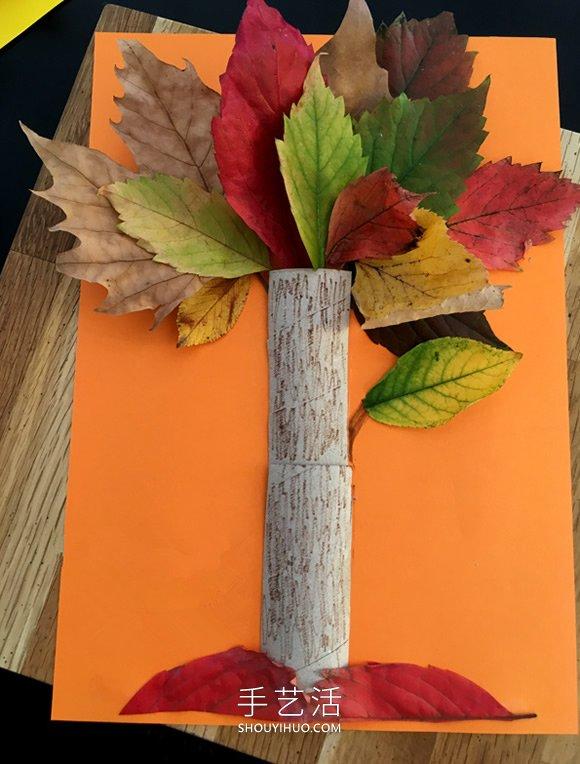 叶子做手工_幼儿园用树叶手工制作大树贴画的做法教程_手艺活网
