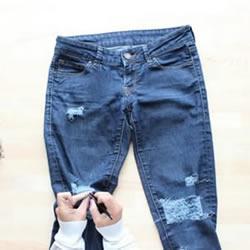 DIY改造破洞牛仔裤的方法图解教程