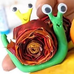 幼儿园手工制作枫叶蜗牛的做法教程