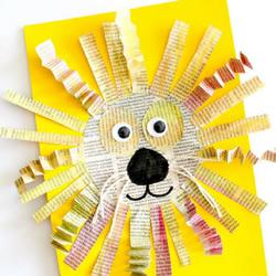 幼儿园用旧报纸手工制作大狮子的做法教程