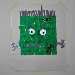 儿童手工制作万圣节弗兰肯斯坦纸贴画的做法