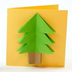 折纸圣诞树 制作立体圣诞节贺卡的做法教程