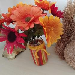 玻璃瓶粘贴彩色薄纸 制作秋季风花瓶的做法